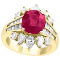 GIA Certified 3.6 Carat Burma Ruby Minor Heat and Diamond 18 Karat Gold Ring