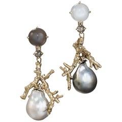 Daria de Koning Moonstone, Diamond, South Sea Pearl, Tahitian Pearl Earrings