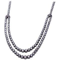 Platinum Double Row Necklace