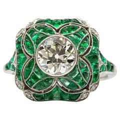 Platinum   Art Deco Style Emerald and Diamond Ring