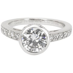 GIA Certified Cartier Diamond Engagement Ring in Platinum E/VS1 1.01 Carat