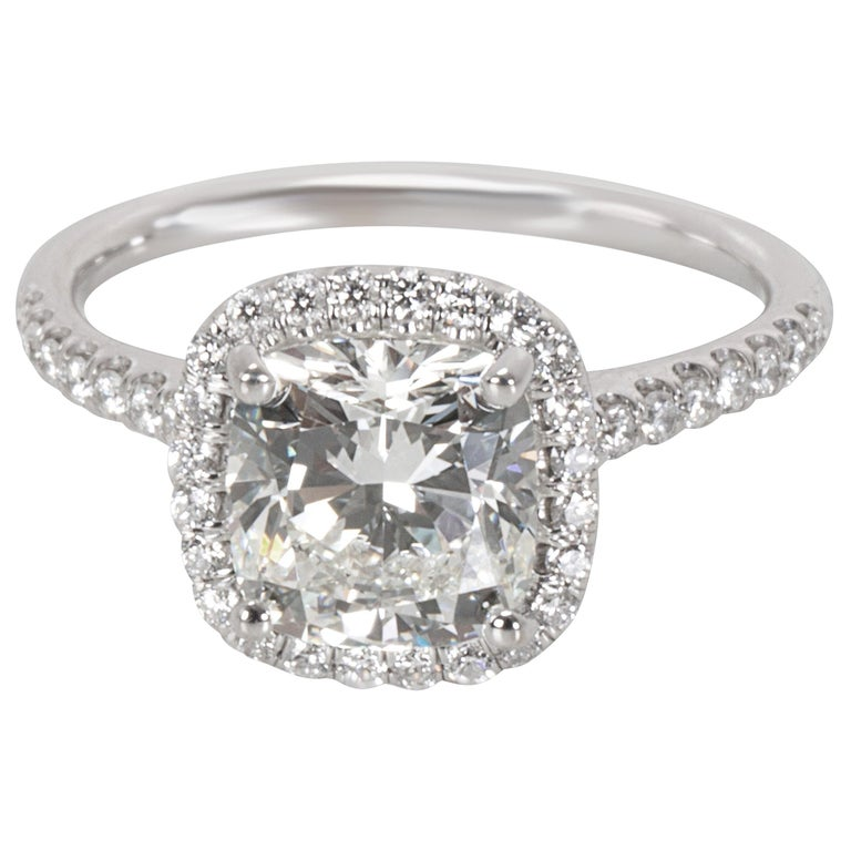 a6ac24f66 James Allen Cushion Cut Halo Diamond Ring in 14 Karat Gold J SI1 1.90 Carat  For