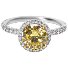 GIA Fancy Intense Yellow Diamond Engagement Ring in 18k Gold & Plat 1.87 CTW