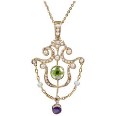 Antique Suffragette Pendant Necklace Edwardian, circa 1910