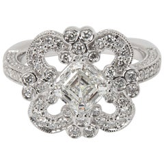 Tolkowsky Diamond Ring in 14 Karat White Gold GIA Certified G VVS1 '2.20 Carat'