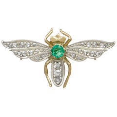 Emerald and Diamond Yellow Gold Insect Brooch