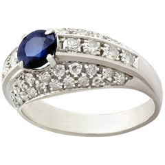 1960s Sapphire and Diamond White Gold Cocktail Ring