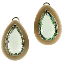 Green Amethyst, White Hard Stone White Gold Drop Earrings