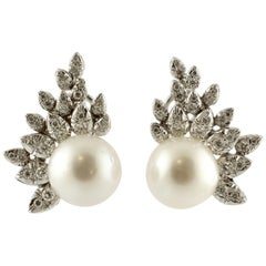 Pearls and Diamonds Leaves White Gold Earrings