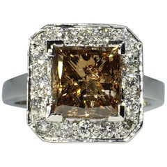Natural 2.38ct Fancy Light Brown Princess Cut Diamond 18k White Gold Halo Ring