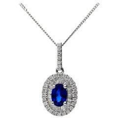 18 Carat White Gold 0.59 Carat Sapphire and 0.34 Carat Diamond Cluster Pendant