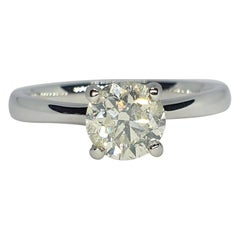 Natural 1.01ct Si1 H Solitaire Round Cut Diamond 18k White Gold Solitaire Ring
