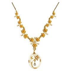 Antique Edwardian 15 Carat Gold Seed Pearl and Aquamarine Necklace