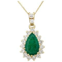 1970s 1.98 Carat Emerald and Diamond Yellow Gold Pendant