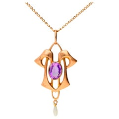 Antique Art Nouveau 9 Carat Rose Gold Amethyst and Seed Pearl Pendant