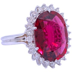 GIA Certified 9.76 Karat Red Oval Cut Tourmaline Diamond Ballerina Cocktail Ring