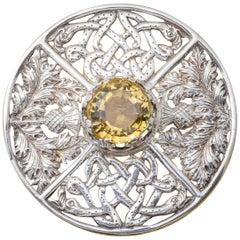 Antique Victorian Scottish Cairngorm Brooch Silver Dated Glasgow 1901