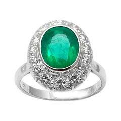 Vintage 2.70 Carat Brazilian Emerald and Diamond 18 Karat Gold Cluster Ring