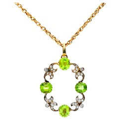 Antique Late Victorian 4.65 Carat Peridot and 0.35 Carat Diamond Pendant