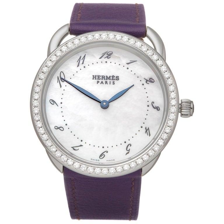 Hermes Arceau Stainless Steel AR5730 Wristwatch For Sale