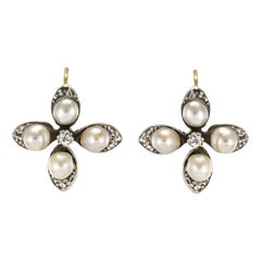 19th Century Natural Pearls Diamonds Clover Shape Lever- Back Earrings