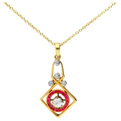 Art Deco 18 Carat Gold 0.30 Carat Diamond and Ruby Pendant