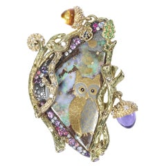 Sylvie Corbelin, One of a Kind Opal and Diamond Owl Gold Ring