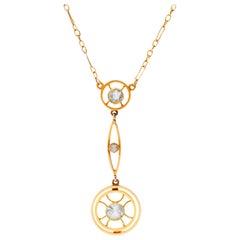 Edwardian 15 Carat Yellow Gold Aquamarine and Split Pearl Necklace