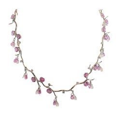 Stunning Pink Sapphire Briolette Moonstone Diamond Gold Necklace