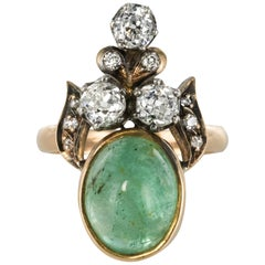 19th Century 4.50 Carat Cabochon Emerald Diamonds Duchess Ring