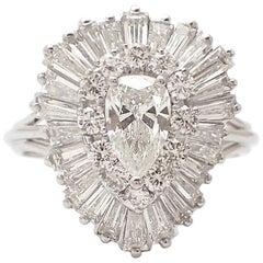 Pear Shape Ballerina Ring in Platinum