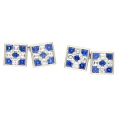Diamond and Sapphire Chess Chain Cufflinks in Platinum