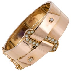 French Napoleon III Natural Pearl and Rose Gold Belt Bangle Bracelet