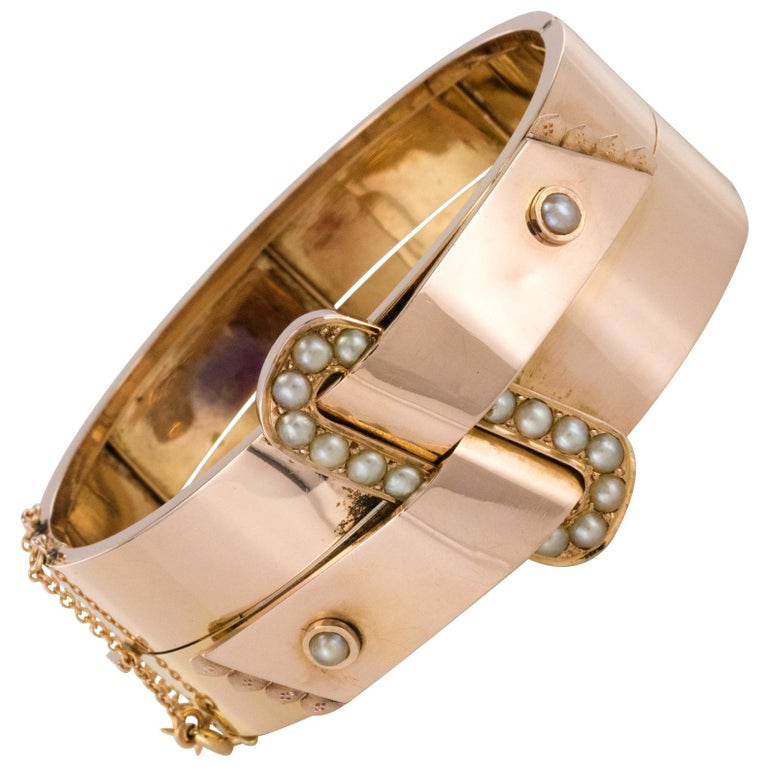 French Napoleon III Natural Pearl and Rose Gold Belt Bangle Bracelet For Sale