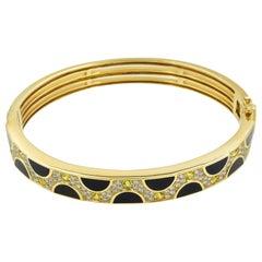 Bernard Passman Diamond and Yellow Sapphire Bracelet with Black Coral in 18K YG