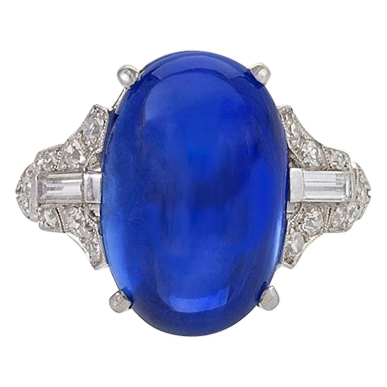 Art Deco Platinum-Set Diamond and Sapphire Ring For Sale