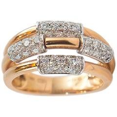 0.91 Carat White Diamond 18 Karat Yellow Gold Band Ring