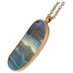 Dalben Design Oval Australian Boulder Opal and Rose Gold Necklace