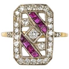 1925s French Art Deco 18 Karat Yellow Gold Ruby Diamond Rectangular Ring