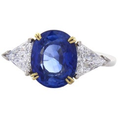 PGS Certified 4.34 Carat Oval Blue Sapphire & Diamond Cocktail Ring in Platinum