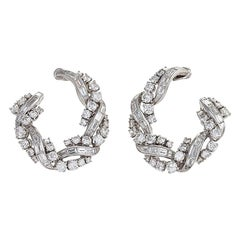Front-Facing Diamond Hoop Earrings