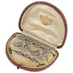 Krementz for Dreicer Art Deco Diamond Rock Crystal Platinum and Gold Dress Set