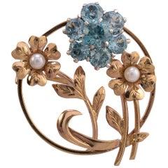 2.4 Carat Blue Zircon Pearl Circular Flower Brooch Gold Hallmarked
