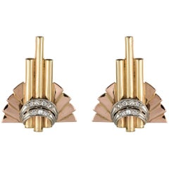 Retro 1940s Diamond Gold Stud Earrings
