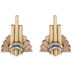 Retro 1940s Diamond Gold Stud Earrings