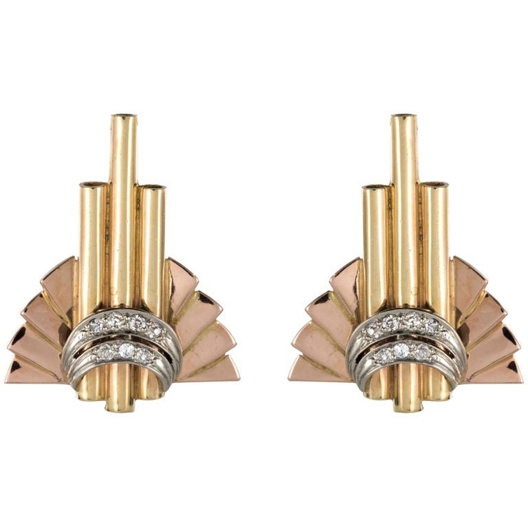 Retro 1940s Diamond Gold Stud Earrings For Sale