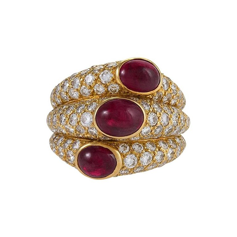 Cartier Paris Ruby and Diamond Ring For Sale