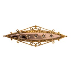 Antique Victorian Diamond Brooch Pin Dated Chester, 1900