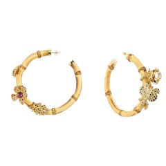 Sylvie Corbelin, Bamboo Gold and Silver Hoop Earrings