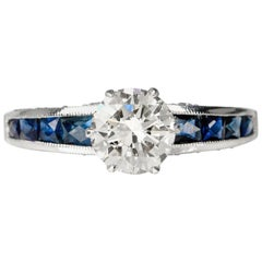Diamond French Cut Blue Sapphire Platinum Engagement Ring